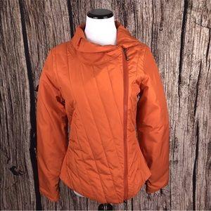 Prana Parfait Asymmetrical Quilted Jacket Orange S